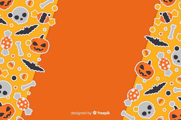 フラットなデザインでかわいいオレンジ色のハロウィーンの背景