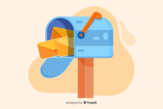 ランディングページのカラフルなメールボックスの概念