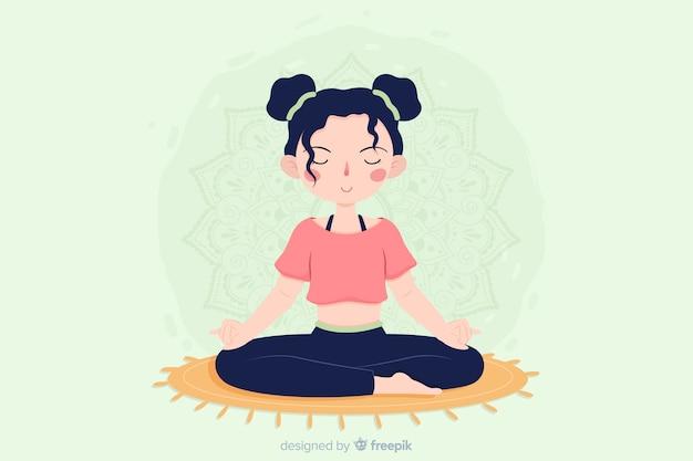 リンク先ページのフラットなデザインの瞑想のコンセプト