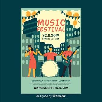 音楽祭テンプレートの手描きポスター