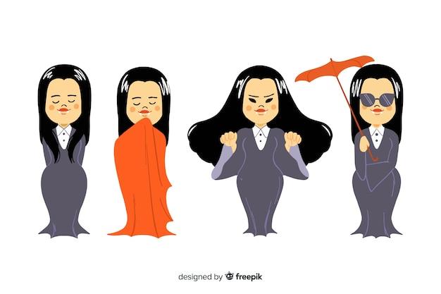 女性の手描きの吸血鬼のキャラクターコレクション