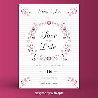 Розовый цветочный шаблон свадебного приглашения в плоском дизайне