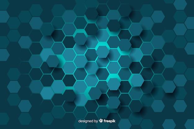 デジタル回路の背景の青いハニカム