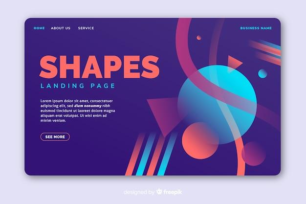 明るい色の幾何学的図形のランディングページ