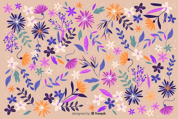 平らな美しい花の背景