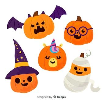Детские хэллоуинские резные тыквы в костюмах