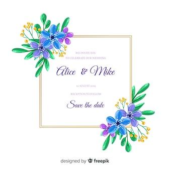 カラフルな手描きの花のフレームの結婚式の招待状