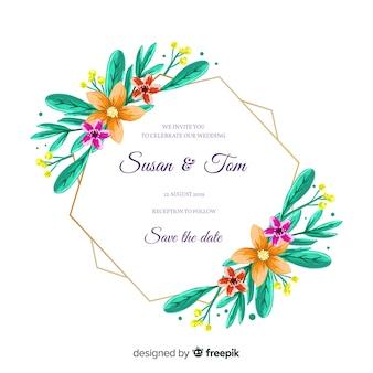 Ручная роспись цветочная рамка свадебное приглашение