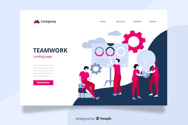 互いに助け合う同僚とのチームワークランディングページ