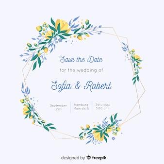 Красочная цветочная рамка свадебное приглашение в плоском дизайне