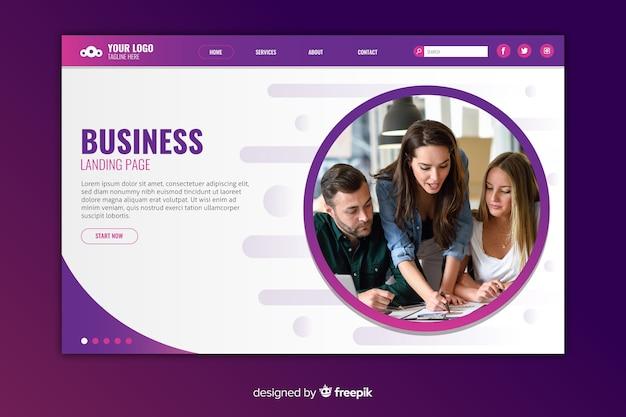 コピースペースと写真付きのビジネスランディングページ