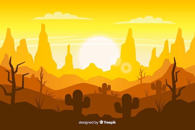 日の出と砂漠の風景