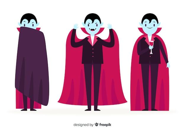 Плоский дизайн молодого взрослого вампира в гробу