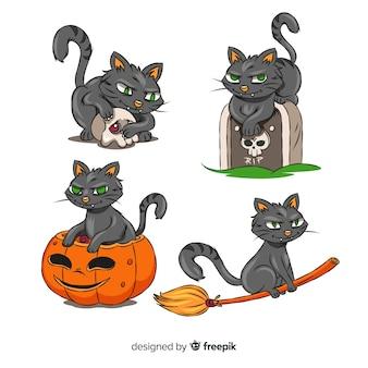 ハロウィーンのためにすべての上に座っている猫
