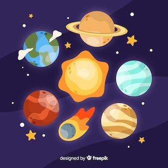 天の川の惑星のセット