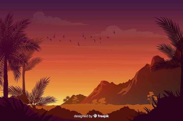 グラデーション熱帯林の風景と自然な背景