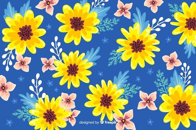 手描きの芸術的な花の背景