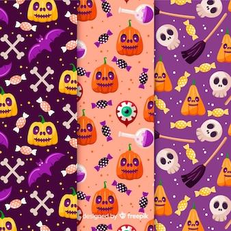 かぼちゃのシームレスなパターンコレクション
