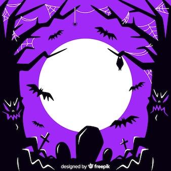 墓地と木と白い満月