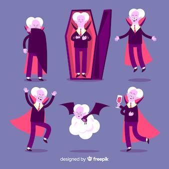 高齢者の吸血鬼の姿勢フラットデザイン