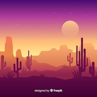 砂漠の風景の夜