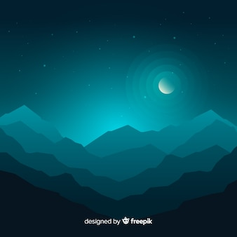 山の風景ブルーグラデーション