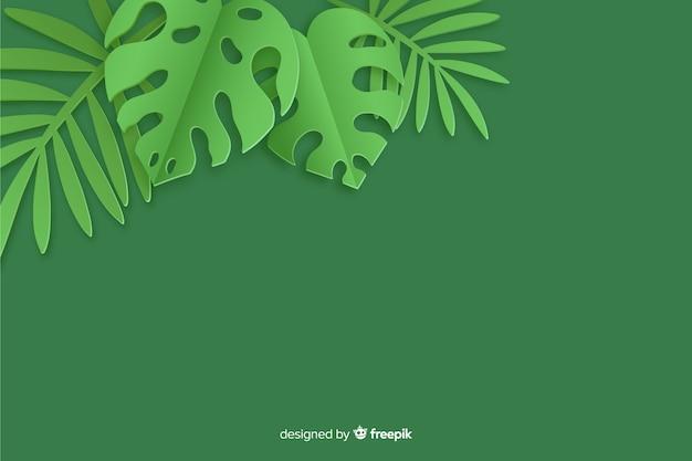 モンステラ植物と紙のスタイルの背景