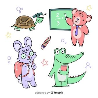 学校に戻るお祝いのための動物コレクション