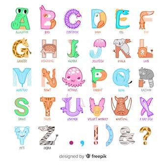 動物のアルファベットのイラスト描画スタイル