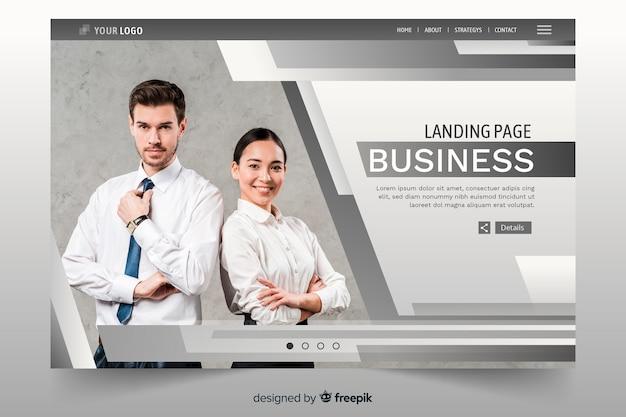 Бизнес целевая страница с линиями и фото