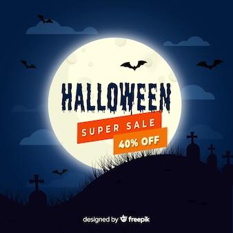 Плоская распродажа хэллоуина ночью в полнолуние