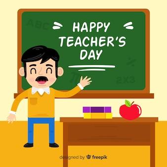 Плоский дизайн учитель в классе с пожеланием на доске