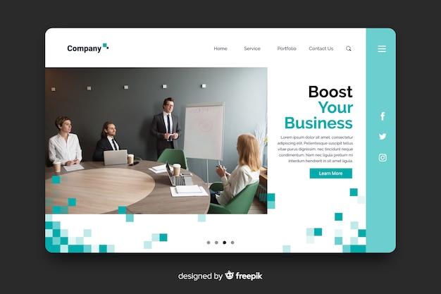 写真付きのカラフルなビジネスランディングページ