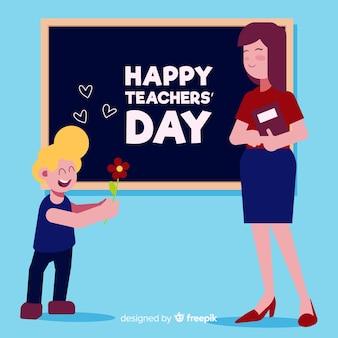 Плоский дизайн учителя с учеником, желающим счастливого дня учителя