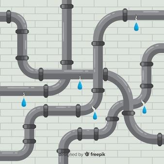 Плоская конструкция сломанных труб, подтекающая вода