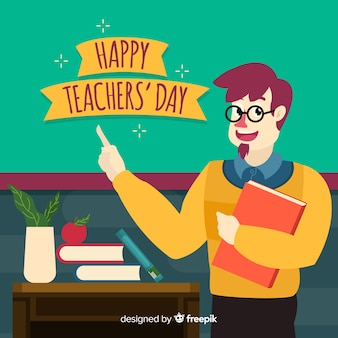 Учитель нарисованный рукой на рабочем месте