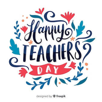 ハドンは世界の教師の日のレタリングを描きました