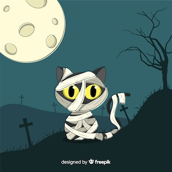 ハロウィーンミイラの黒い猫の手描き