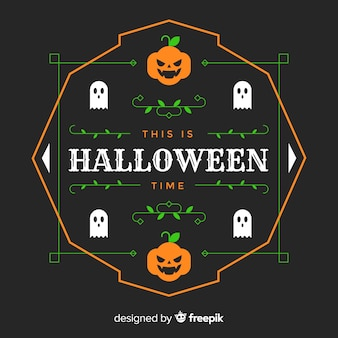 Плоский дизайн тыквы хэллоуин кадр