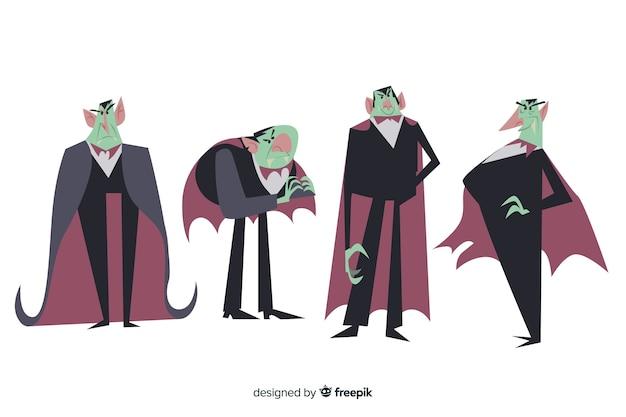 フラットなデザインのハロウィーンキャラクターのコレクション