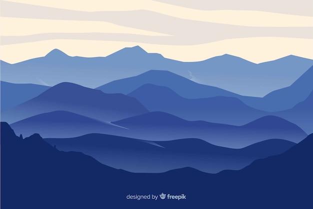 Горы пейзаж синий градиент