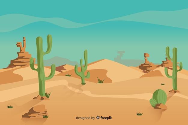 サボテンと自然の砂漠の風景