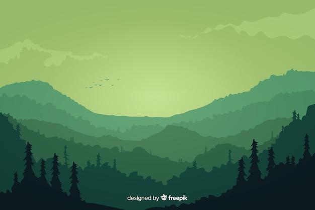 山の風景緑のグラデーション