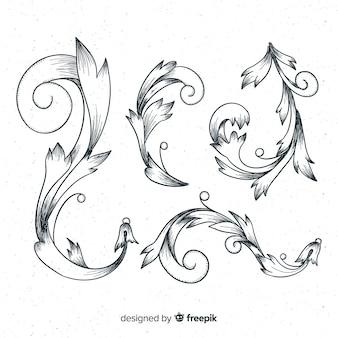 手描きの花のヴィンテージのさまざまな