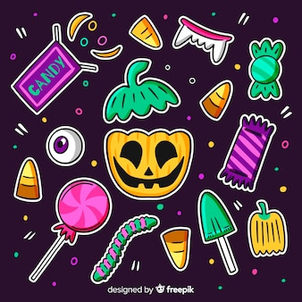 Нарисованная от руки симпатичная коллекция конфет на хэллоуин