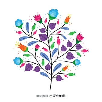 紫の葉とフラットなデザインの春の花
