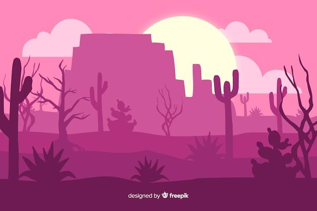 Розовый пустынный пейзаж с кактусом