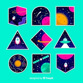 Коллекция современных космических стикеров иллюстрирована
