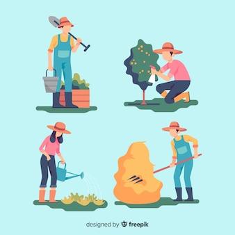 フラットなデザインの農業労働者のパック