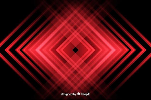 赤いライトの背景を持つ幾何学的形状